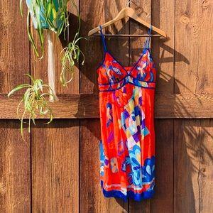 Sue Wong Silk Floral Pleated Mini Dress